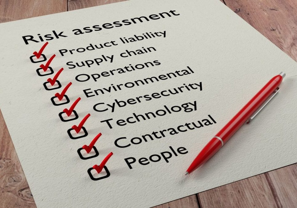 Risk assessment types checklist on white paper with red tickmarks and a pen 3D illustration